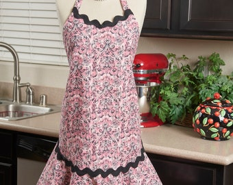 Lovely Pink and Black Apron with Oversized Black Rick, Rack Trim, OOAK