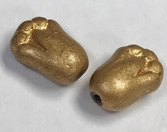 Vintage Glass Beads German GOLD FLOWERS 11mm pkg2 gl856