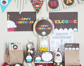 Cupcake Birthday Party Decorations Printable - Cupcake 1st Birthday Decorations - Instant Download - Cupcake Party Decorations - Sweet Shop
