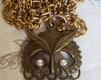 Bronze Tone Owl Pendant and Chain Necklace  Stocking Filler Mothers Day