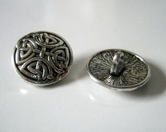 6 Knot Antique Silver Metal Shank Buttons, 17mm, Shank Buttons, Buttons, Sewing    1282