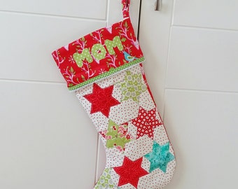 Personalized Christmas Stocking, quilted Christmas Stocking, Patchwork Christmas Stocking, Lined Christmas Stocking