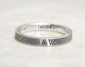 Personalized Fingerprint Wedding Band Handcrafted in the US,  Our Exclusive  Narrow  You & Me Forever Unique Personalized Ring