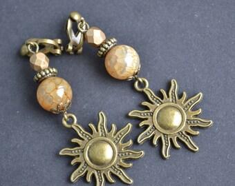 Sun earrings, bronze earrings, boho bohemian earrings, clip on dangle earrings, no pierced earrings, gift for her