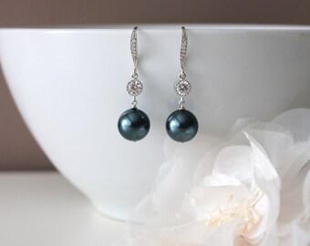 Tahitian Pearl Earrings Something Blue Wedding Earrings Bridesmaid Gift Earrings Swarovski Pearl Drop Earrings Bridesmaid Jewelry