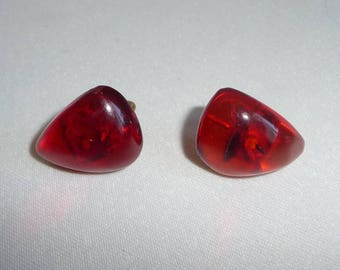 Vintage Art Deco 9ct Gold Cherry Amber Bakelite Screw Back Earrings