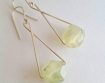 Sterling silver and prehnite drop earrings. Faceted prehnite. Pale green prehnite (grapestone). Made in Australia