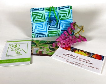 Turquoise Credit Card Wallet, Gift Card Holder, Business Card Purse, Loyalty Card Pouch, Fabric Reward Card Case
