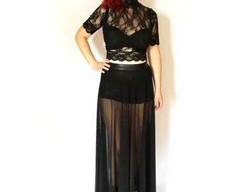 Sheer Maxi Skirt, Black Mesh Skirt, Long Gothic Skirt, See Through Skirt, Full Gothic Skirt, Floor Length Skirt, Sheer Goth Skirt