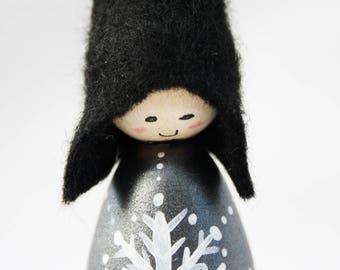 Black Metallic Snowflake Cornish Pixie Elf Wooden Decoration