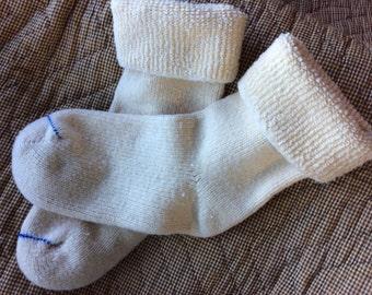 VINTAGE KNIT SOCKS, winter white, foot warmers, sweater stockings