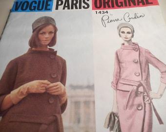 Vintage 1960's Vogue 1434 Paris Original Pierre Cardin Suit Sewing Pattern Size 14 Bust 34