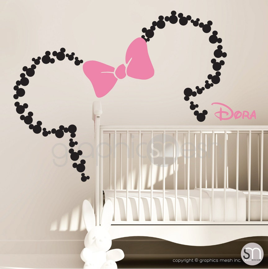 Mickey Mouse Inspired ears with Bow & PERSONALIZED BABY NAME /