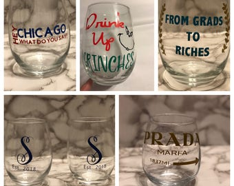 Set of 4 Personalized Stemless Wine Glasses - Limited Availability!