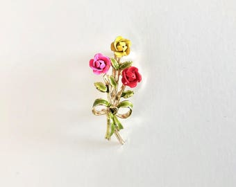 Vintage Brooch - Rose Flower Bouquet - Vintage Costume Jewelry