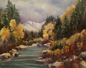 Along the Roaring Fork - Watercolor Giclee  print