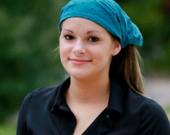 Extra Wide Headscarf, Teal Head Scarf, Alopecia Bandanna, Hippie Head Cover, Blue Lightweight Headwrap (#2713) S M L X