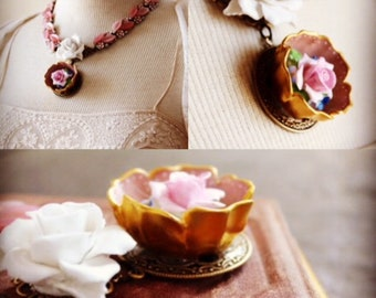 China salt cellar and porcelain roses assemblage necklace antique salt dish English bone china flowers brooch pin vintage necklace pink