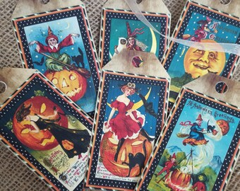 Set of 6 Large Vintage Style Halloween Gift Tags & Ribbon