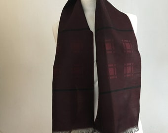 Vintage 60s 1960s Wool Silk Scarf/ Mens Retro Mod Scarf/ Mod Clothing/ 60s Clothing/ 60s Scarves/ Wine Scarf/ Geometric Scarf/ Dandy/ Opera