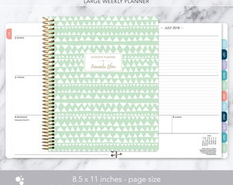 8.5x11 WEEKLY PLANNER 2018 2019 | choose your start month | 12 month calendar | LARGE weekly planner | mint green tribal