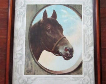 Rare Antique 1909 Carl Kahler Reliable Horse Print Thoroughbred Stud Framed FA Schneider Equestrian Art