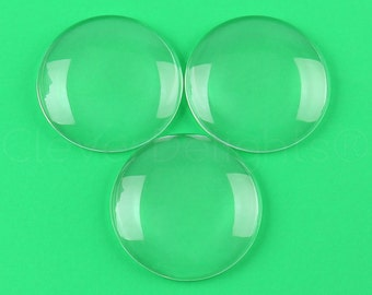 "5 Pcs - 2.5"" Round Glass Cabochons - 2 1/2 Inch Clear Round Magnifying Dome Cabs - Solid Transparent Glass - 1/2"" Thick"