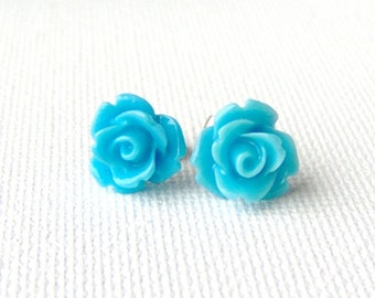 Blue rose surgical steel stud earrings / resin rose / gift for mothers day / girlfriend gift / gift for her / hypoallergenic earrings