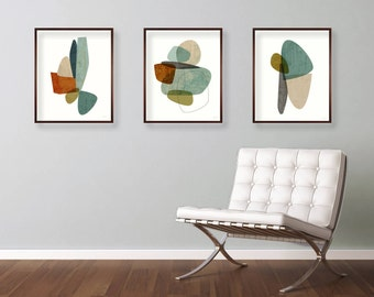 Mid Century Modern Art, Art Print Set, Contemporary Art, Abstract Art Print, Modern Art Print, Art Print Set of 3
