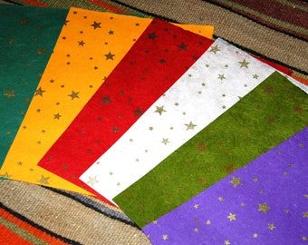 6 A4 sheets Nepalese Lokta art/craft/collage paper, assorted colors, gold star block print. Tree-free, hand made, eco-friendly.