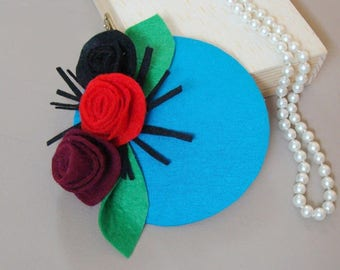 """Bibi"" hat / fascinator - turquoise with roses"