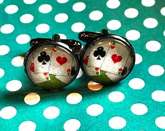 Playing card suits cabochon cufflinks - 16mm