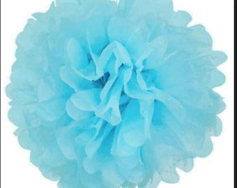 Wholesale Lot of FOUR Tissue Paper Flower Pom Poms Light Blue