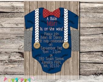 Little Man Shower Invitation or Birth Announcement - Baby Shower Invitation - Photo Invite - Printable - DIY - Digital File