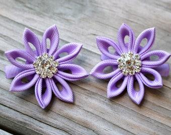 Light Purple Kanzashi Flower Clips