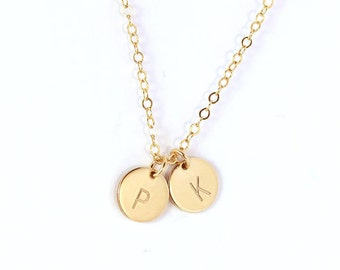 Personalized disc, Silver/Gold/Rose necklace, Disc with Initials, Disc Neclace, Disc pendant, Disc stamped.