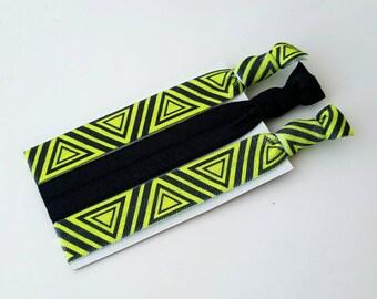 Black and Neon Green Elastic Hair Tie Set - Women's Hair Ties - Yoga Hair Ties - Elastic Hair Ties - Black Hair Ties - Printed Hair Ties