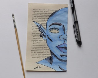 Upcycled book page Blue & Purple elf!