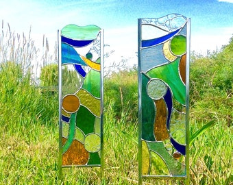 2 Stained glass garden stakes or windows - enhance your flower beds and landscaping!