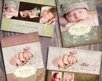 Baby Birth Announcement - PSD Template Set - FLORENTINE