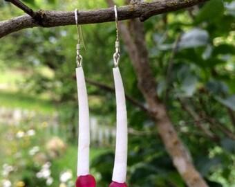 Dentalium Horn Shell and Sea Glass Earrings