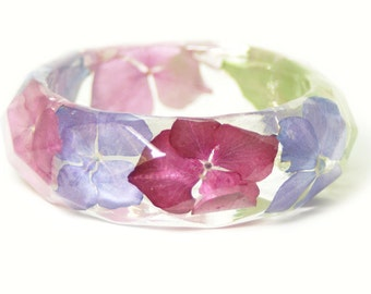 Flower jewelry - Bracelet- Pink Bangle- Pink  Flower Jewelry- Resin Jewelry- Flower Bangle- Green Leaf Bracelet - real flower gifts