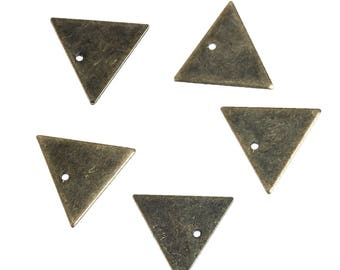 10 charms 14mm Bronze color metal Triangle / geometric
