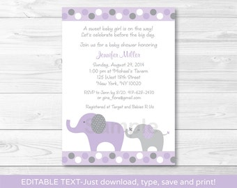 Purple Elephant Baby Shower Invitation / Baby Girl / INSTANT DOWNLOAD Editable PDF A409