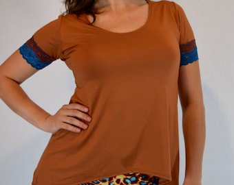 Comfortable Bamboo Handmade Top - Scoop Neck- Lace Trimmed Cap Sleeve - Bamboo Flow Top - Simple Cozy Eco Friendly - Bamboo Top