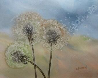 Dandelion watercolour. Blowing dandelion seed painting. Dandelion make a wish. Dandelion abstract art, OOAK art, signed 11x15in. Not a Print