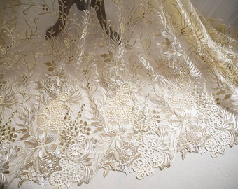 Floral Embroidery Champagne corded lace fabric with scalloped edge,embroidered lace Appliques,lace fabric for wedding gown,bridal dress