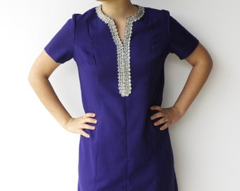 Vintage Purple Dress / 1970s Eggplant and Silver Embroidered Dress / Size L