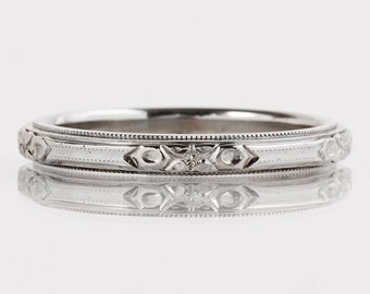 p c set wedding antique band diamond bands pave style platinum eternity