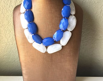 Blue & White Necklace, multi strand jewelry, big beaded chunky statement necklace, blue necklace, bridesmaid necklace, bib necklace, white